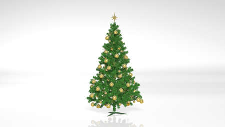 Christmas Tree with Golden Decorations and Ornaments isolated on white background