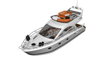 Yacht, luxury boat,  vessel isolated on white background Stock Photo