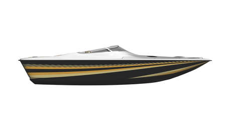Speed boat, vessel isolated on white background, side view