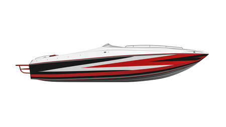 Speed boat,  yacht, vessel isolated on white background side view