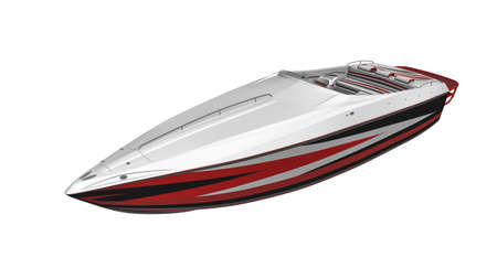 Speed boat, yacht, vessel isolated on white background