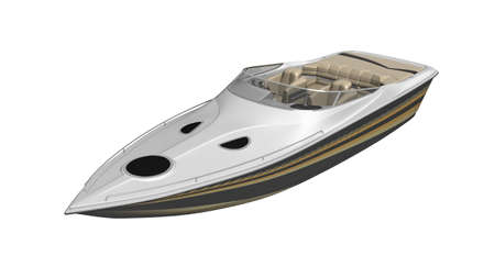 Speed boat, vessel, yacht isolated on white background Stock Photo