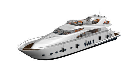 Boat, yacht, luxury vessel isolated on white background Stock Photo