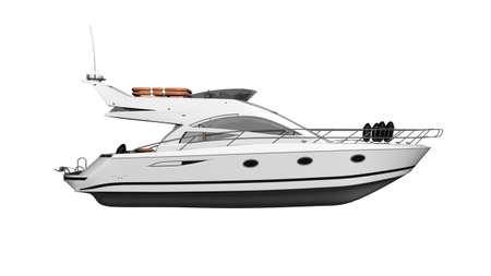 Yate, barco de lujo, buque aislado sobre fondo blanco, lateral