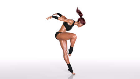 Dancing athlete woman, fit dancer girl standing on toes on white background, 3D rendering