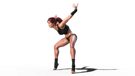 Dancing athlete woman, fit dancer girl standing on toes on white background, side view, 3D rendering