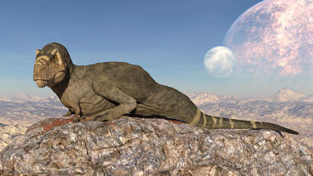T-Rex Dinosaur, Tyrannosaurus Rex reptile sitting on cliff, prehistoric Jurassic animal in deserted nature environment, 3D illustration