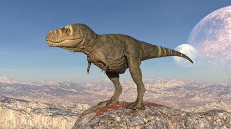 T-Rex Dinosaur, Tyrannosaurus Rex reptile standing on rock, prehistoric Jurassic animal in deserted nature environment, 3D illustration Stock Photo
