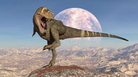 T-Rex Dinosaur, Tyrannosaurus Rex reptile stomping on rock, prehistoric Jurassic animal in deserted nature environment, 3D illustration Stock Photo