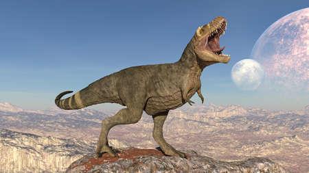 T-Rex Dinosaur, Tyrannosaurus Rex reptile roaring, prehistoric Jurassic animal in deserted nature environment, 3D illustration Stock Photo
