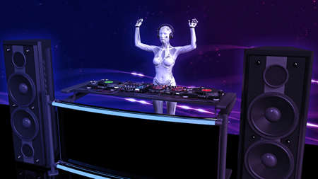 DJ robot with hands up playing music on turntables Stock Photo
