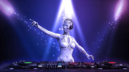 DJ robot with microphone playing music on turntables