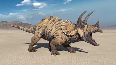Triceratops, dinosaur reptile roars, prehistoric Jurassic animal in deserted nature environment, 3D illustration