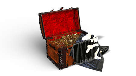 Pirate treasure chest with gold coins and pirate skull flag isolated on white background, 3D rendering Stock Photo