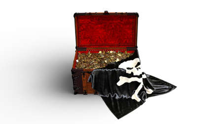 Pirate treasure chest with gold coins and pirate skull flag isolated on white background, front view, 3D rendering