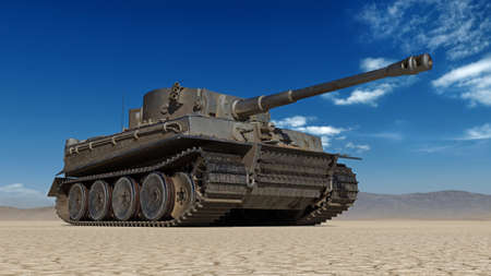 Old army tank, vintage armored military vehicle with gun and turret in desert environment, bottom view, 3D rendering