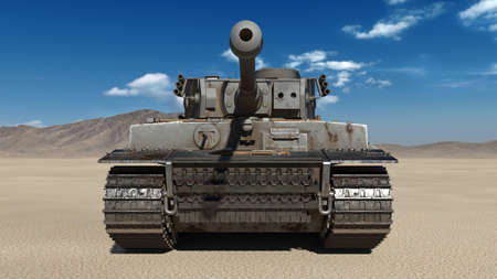 Old army tank, vintage armored military vehicle with gun and turret in desert environment, front view, 3D rendering Stock Photo