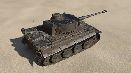 Old army tank, vintage armored military vehicle with gun and turret in desert environment, top view, 3D rendering