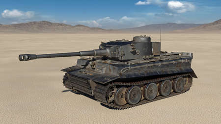 Old army tank, vintage armored military vehicle with gun and turret in desert environment, 3D rendering
