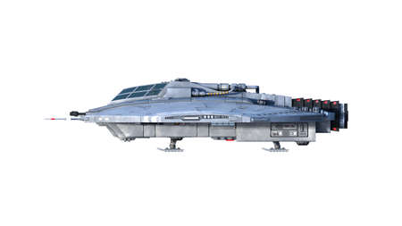Alien spaceship, UFO spacecraft in flight isolated on white background, side view, 3D rendering