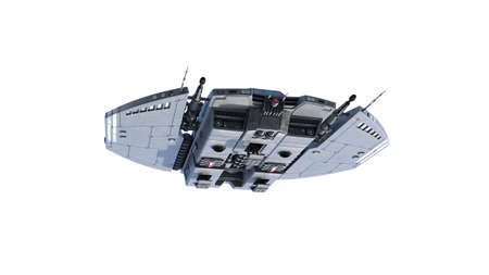 Alien spaceship, UFO spacecraft in flight isolated on white background, bottom view, 3D rendering