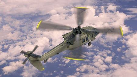 Helicopter in flight, military aircraft, army chopper flying in sky with clouds, top view, 3D rendering 免版税图像