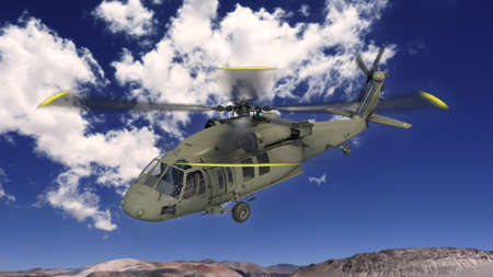 Helicopter in flight, military aircraft, army chopper flying in sky with clouds, 3D rendering 免版税图像