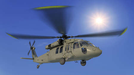 Helicopter in flight, military aircraft, army chopper flying in sky with clouds, bottom view, 3D rendering Stock Photo