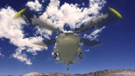 Helicopter in flight, military aircraft, army chopper flying in sky with clouds, front bottom view, 3D rendering
