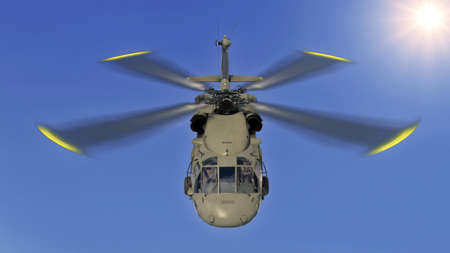 Helicopter in flight, military aircraft, army chopper flying in sky with clouds, front top view, 3D rendering Stock Photo