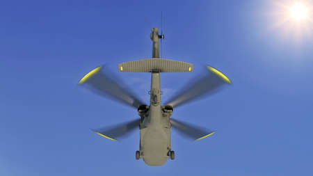 Helicopter in flight, military aircraft, army chopper flying in sky with clouds, rear bottom view, 3D rendering