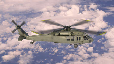 Helicopter in flight, military aircraft, army chopper flying in sky with clouds, side view, 3D rendering