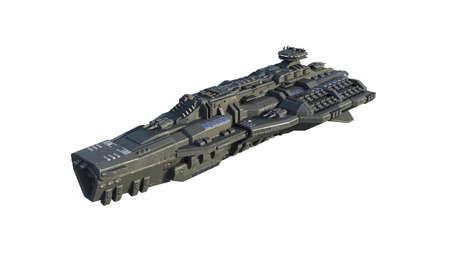 Alien spaceship in flight, UFO spacecraft isolated on white background, 3D rendering 免版税图像