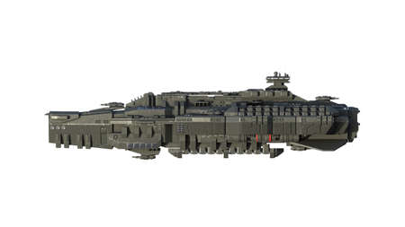 Alien spaceship in flight, UFO spacecraft isolated on white background, side view, 3D rendering 免版税图像