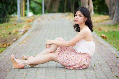 Portrait asian girl relaxing on the floor photo