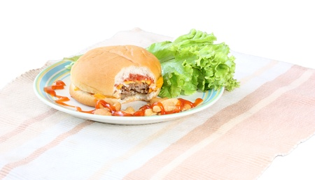 beef burger in plate  iaolated on white background photo