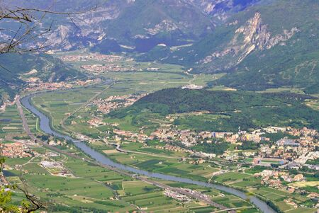 marzahn: aerial photo of the river Adige and Trentino Rovereto city and its villages
