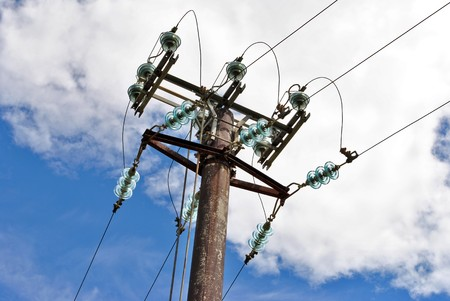 High voltage electricity pylon for the transport and transformation from high to low voltage Stock Photo - 7053217