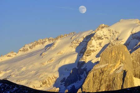 Summer portrait of Italian Dolomites in val di Fassa South Tyrol Alps Italy  photo