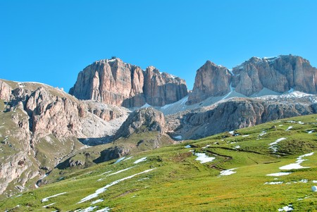 val: Summer portrait of Italian Dolomites in val di Fassa South Tyrol Alps Italy