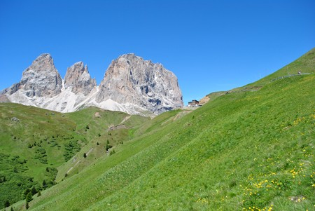 Summer portrait of Italian Dolomites in val di Fassa South Tyrol Alps Italy
