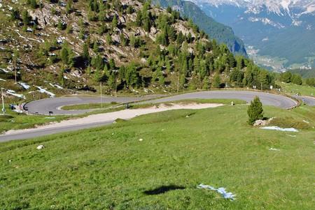 fassa: Summer portrait of Italian Dolomites in val di Fassa South Tyrol Alps Italy road