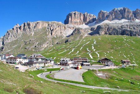 Summer portrait of Italian Dolomites in val di Fassa South Tyrol Alps Italy  photo