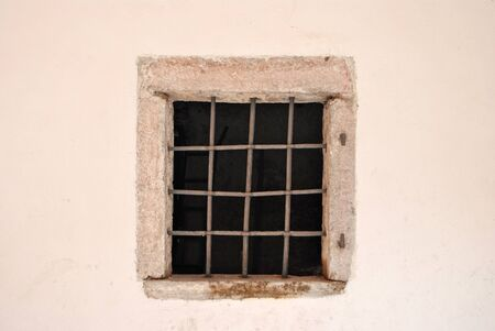window bars: window with iron bars for protection and plant cyclamen