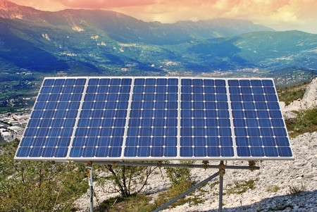 Solar Panel with background blue sky and white clouds Stock Photo - 7789341