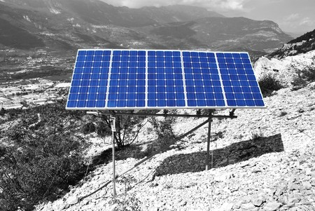 Solar Panel with background blue sky and white clouds Stock Photo - 7789345