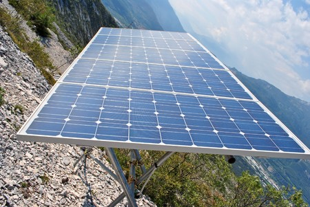 Solar Panel with background blue sky and white clouds Stock Photo - 7789494