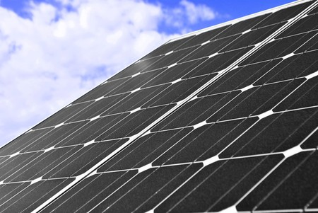 Solar Panel with background blue sky and white clouds Stock Photo - 7899696
