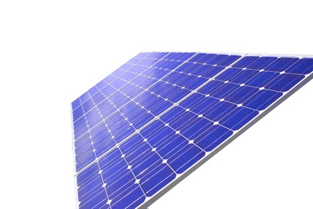 Solar Panel with background blue sky and white clouds Stock Photo - 7899667