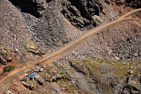 unpaved road: unpaved road in the mountains